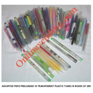 Assorted Pens In Plastic Tubes-200 Count Refills