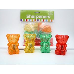 Gummy Bear Pencil Sharpeners 3 Colors 24 Count