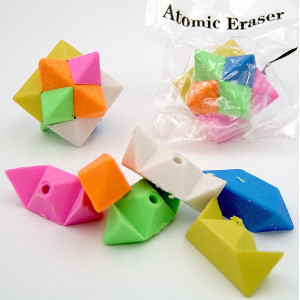 Atomic Star Puzzle Erasers 36 Count