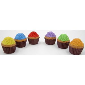 Cupcake Erasers Six Colors 48 Count
